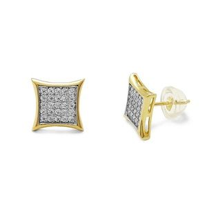14K Solid Gold Mens Micro Pave CZ studs